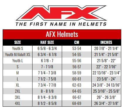 AFX size chart
