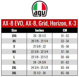 AGV: AX8, GRID, HORIZON, K3 size chart