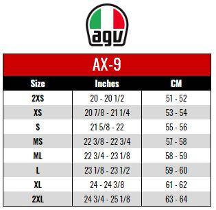 AGV: AX9 size chart