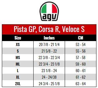 AGV: PISTA, CORSE, VELOCE size chart