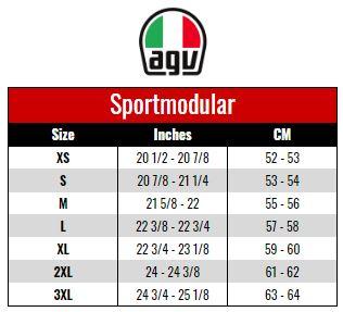 AGV: SPORTSMODULAR size chart