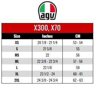 AGV: X300, X70 size chart