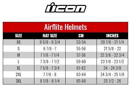 Icon Airflite size chart