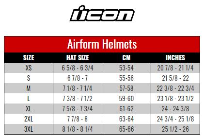 Icon Airform size chart