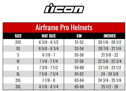 Icon Airframe Pro size chart