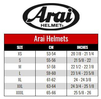ARAI size chart