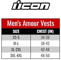 Icon Armour Vest Men size chart