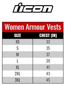 Icon Armour Vest Women size chart
