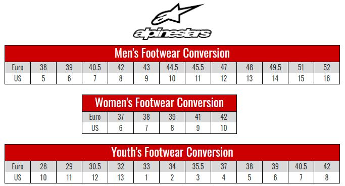 Alpinestars Footwear size chart