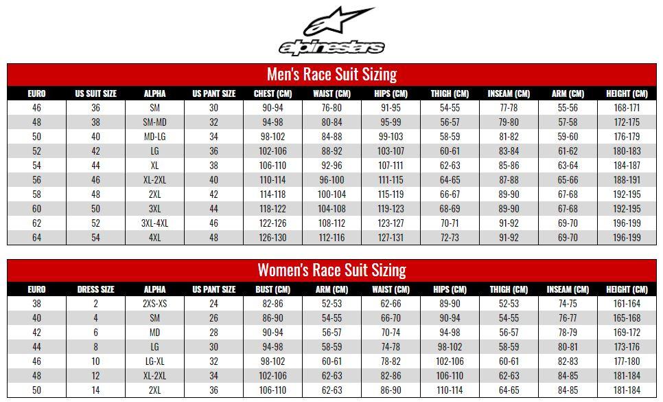 Alpinestars Racesuits size chart