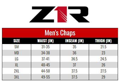 Z1R Chaps Men size chart