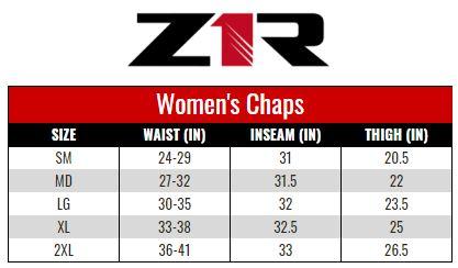 Z1R Chaps Women size chart