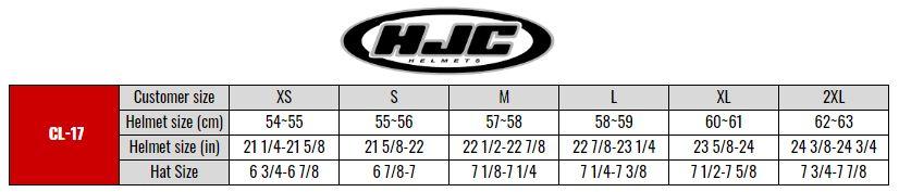 HJC CL17 size chart