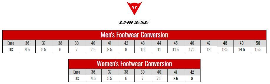 Dainese Footwear size chart