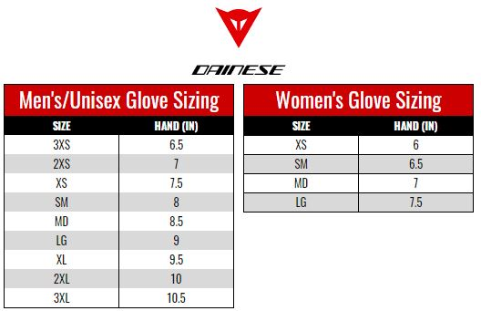 Dainese Gloves size chart
