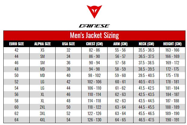 Dainese Mens Jackets size chart