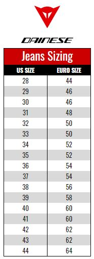 Dainese Jeans size chart