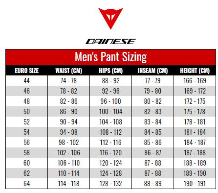 Dainese Mens Pants size chart