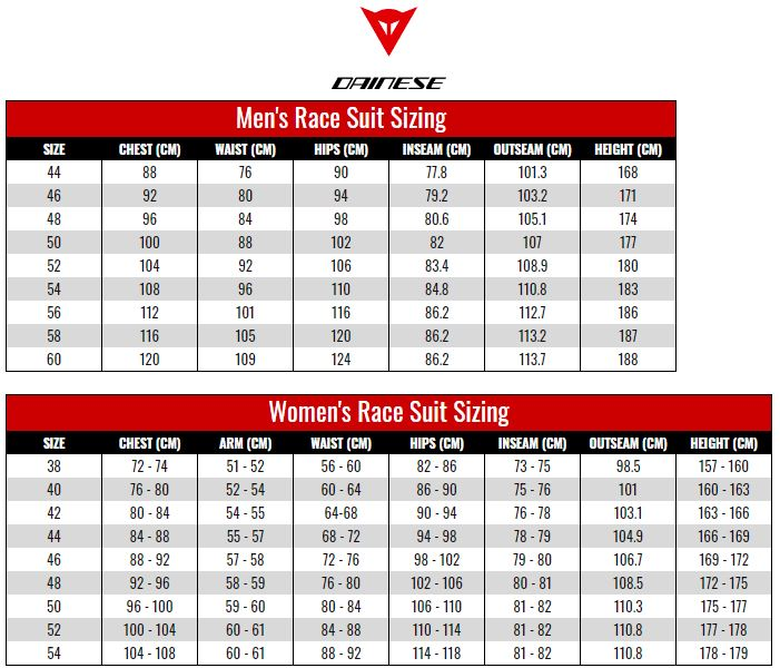 Dainese Race Suits size chart