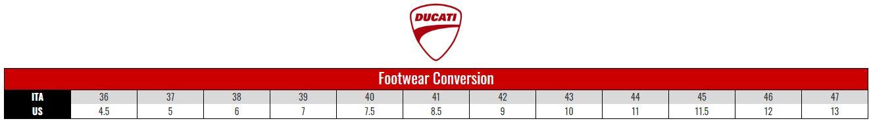 Ducati Footwear size chart