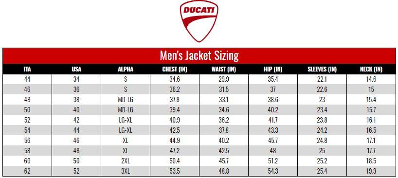 Ducati Men's Jackets size chart