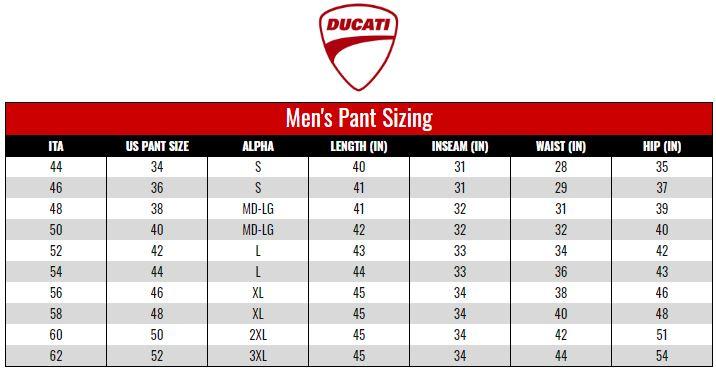 Ducati Men's Pants size chart