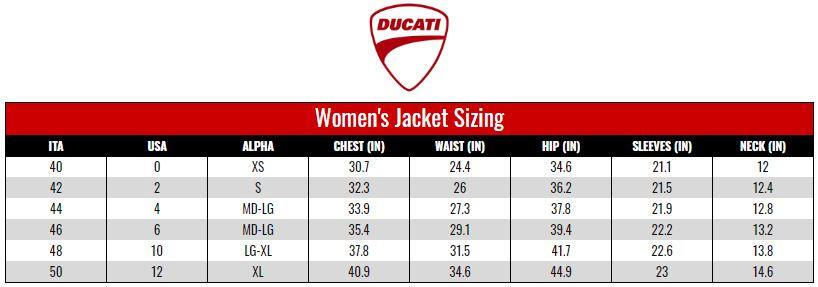Ducati Women's Jackets size chart