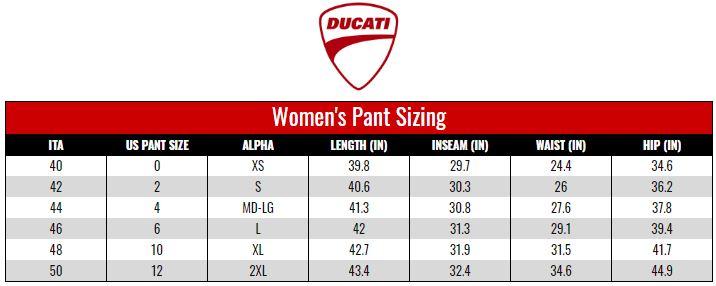 Ducati Women's Pants size chart