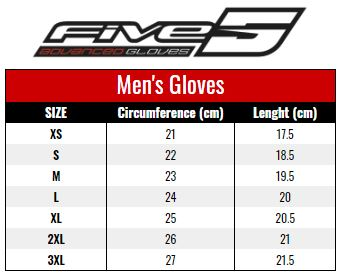 Five Men's Gloves size chart