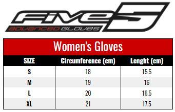 Five Women's Gloves size chart