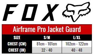 Fox Airframe Pro Jacket Guard size chart