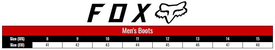 Fox Boots Men size chart