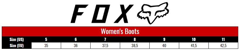 Fox Boots Women size chart
