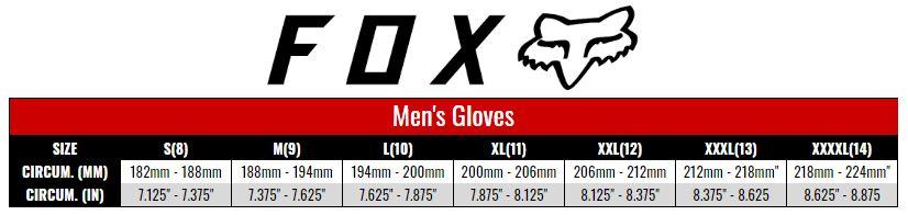 Fox Gloves Men size chart