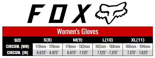 Fox Gloves Women size chart