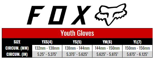 Fox Gloves Youth size chart