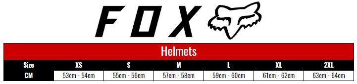 Fox Helmets Adult size chart