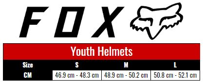 Fox Helmets Youth size chart