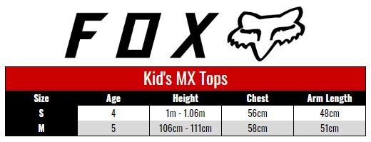 Fox Jersey Kids size chart