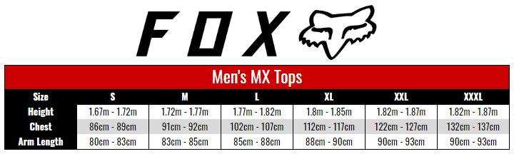 Fox Jersey Men size chart