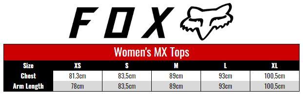 Fox Jersey Women size chart