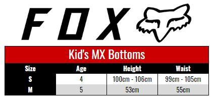Fox Pants Kids size chart
