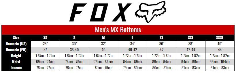 Fox Pants Men size chart