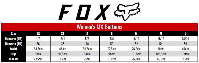 Fox Pants Women size chart