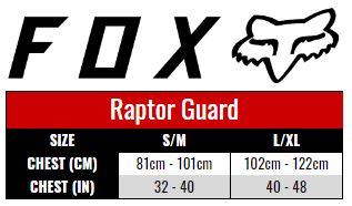 Fox Raptor Guard size chart