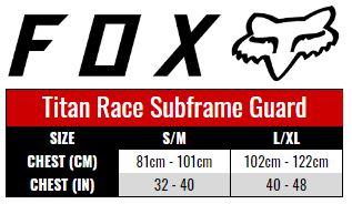 Fox Titan Race Subframe Guard size chart