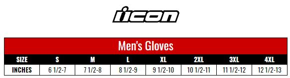 Icon Gloves Men size chart
