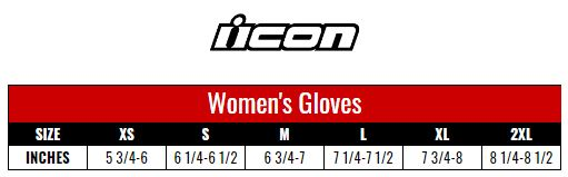 Icon Gloves Women size chart