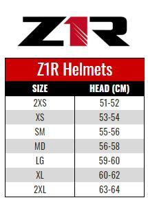 Z1R Helmet size chart