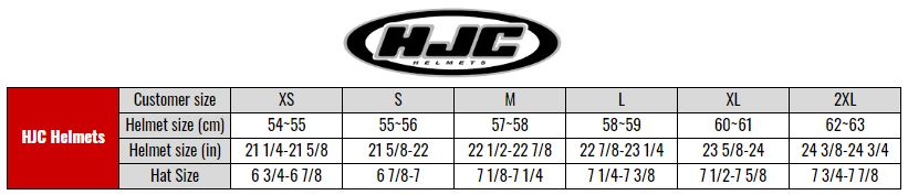 HJC General size chart